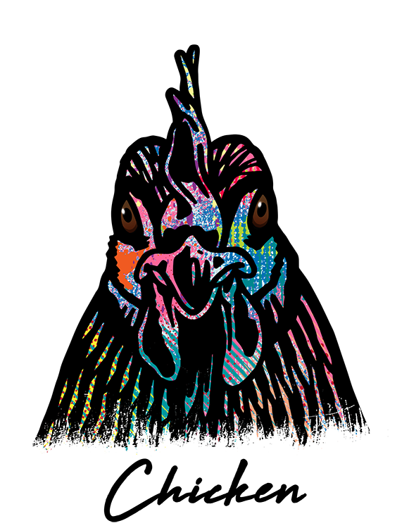 Chicken T Shirt Colorful Abstract