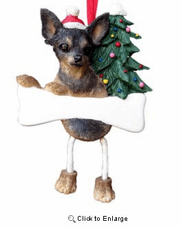 Chihuahua Christmas Tree Ornament - Personalize (Black and Tan)