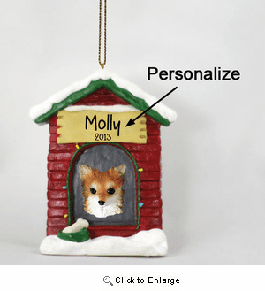 Chihuahua Personalized Dog House Christmas Ornament Long Hair