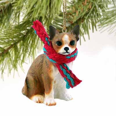 Chihuahua Tiny One Christmas Ornament Brindle-White