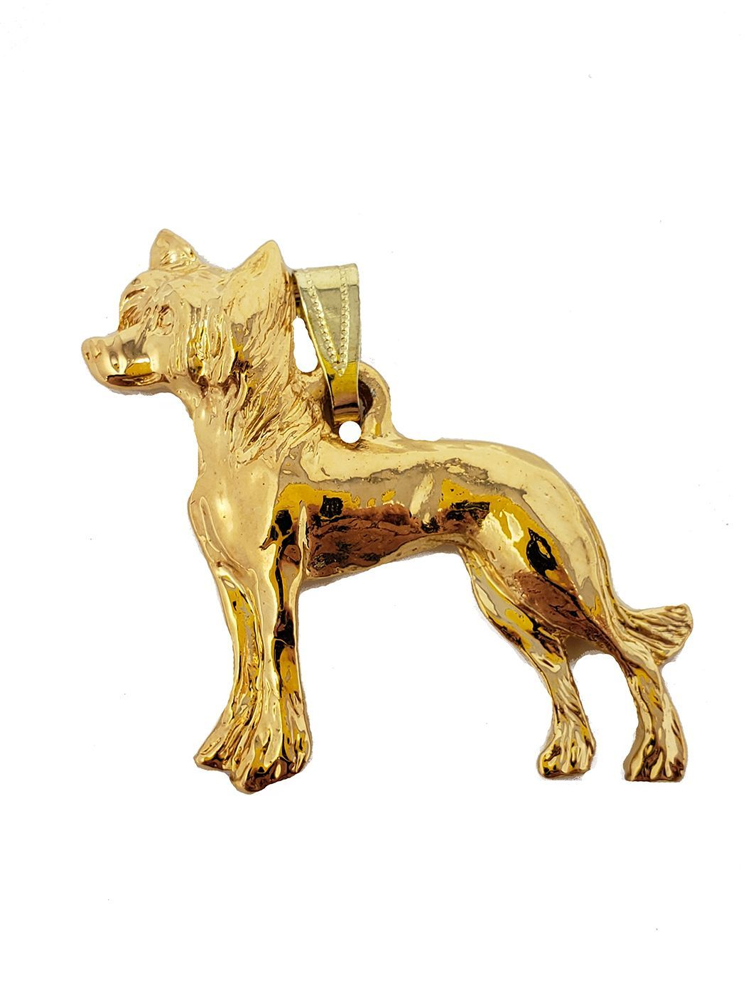 Chinese Crested 24K Gold Plated Pendant