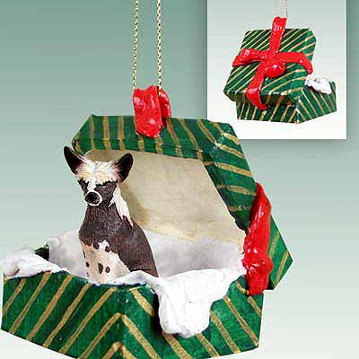 Chinese Crested Gift Box Christmas Ornament