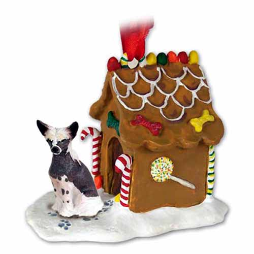 Chinese Crested Gingerbread House Christmas Ornament