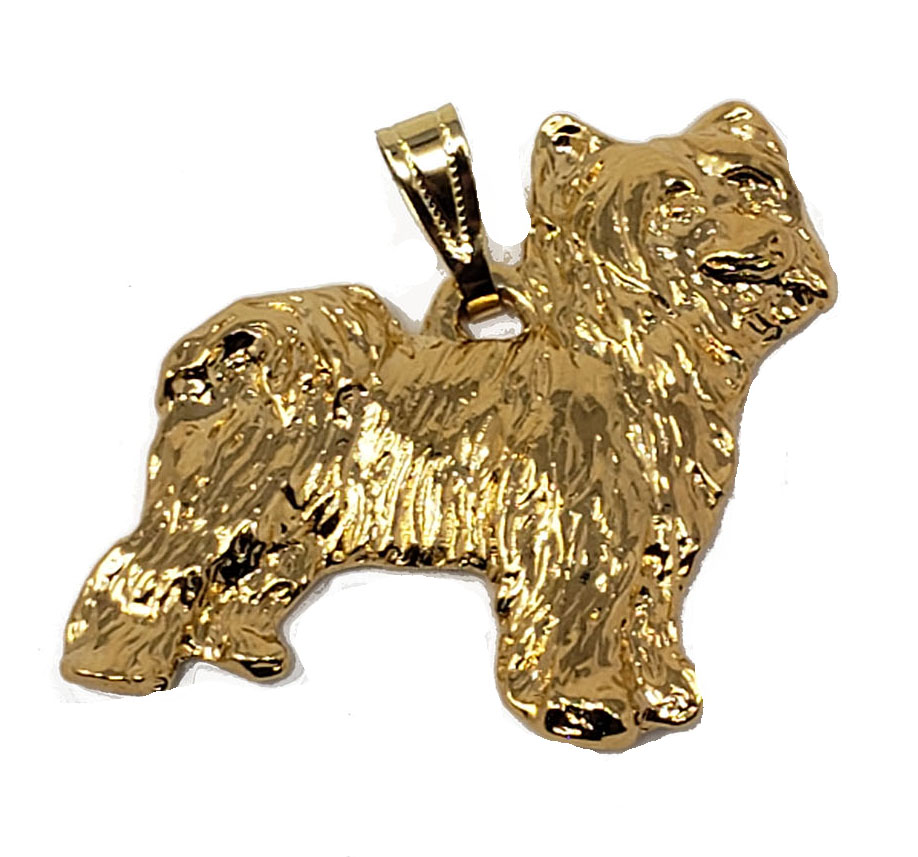 Chinese Crested Powder Puff 24K Gold Plated Pendant
