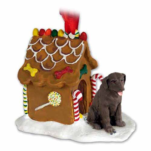 Chocolate Lab Gingerbread House Christmas Ornament
