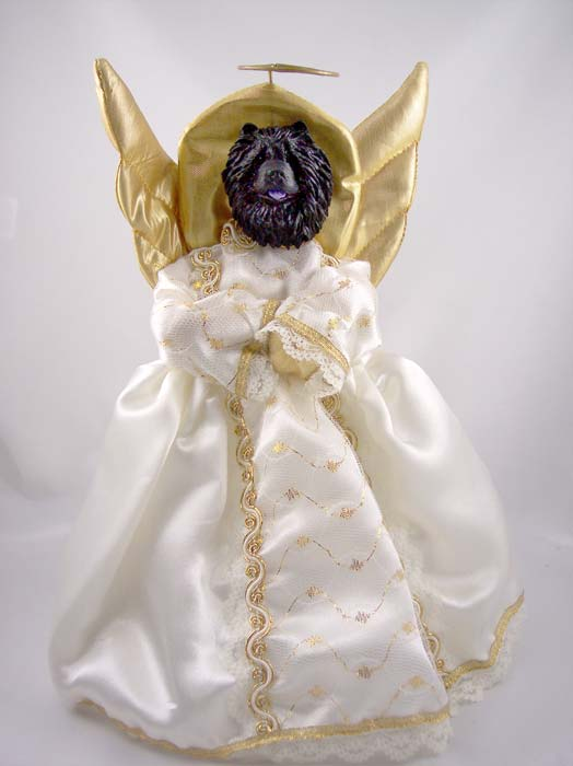Chow Chow Angel Christmas Tree Topper (Black)