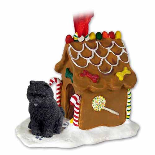 Chow Chow Gingerbread House Christmas Ornament Black