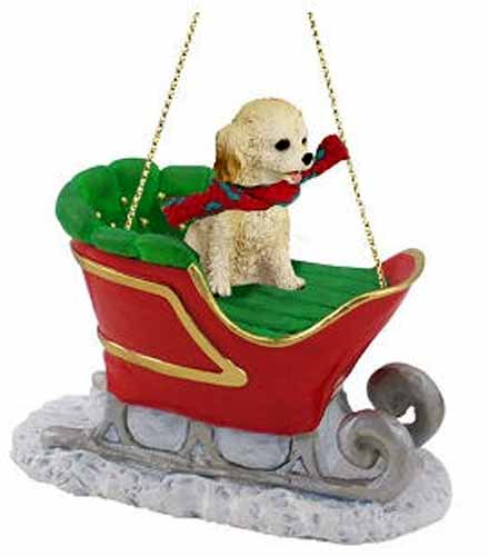 Cockapoo Sleigh Ride Christmas Ornament Blonde