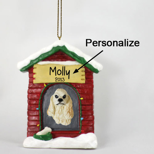 Cocker Spaniel Personalized Dog House Christmas Ornament