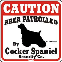 Cocker Spaniel Caution Sign