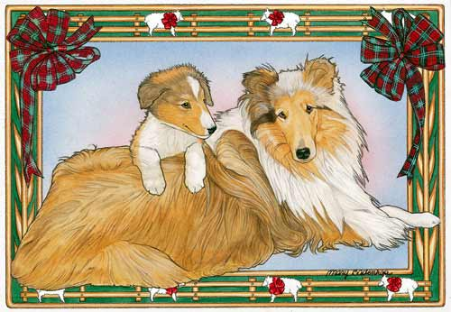 Collie Christmas Cards Mom & Pup