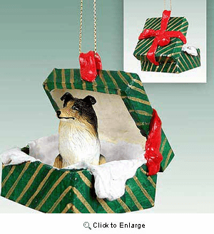 Collie Gift Box Christmas Ornament Tricolor