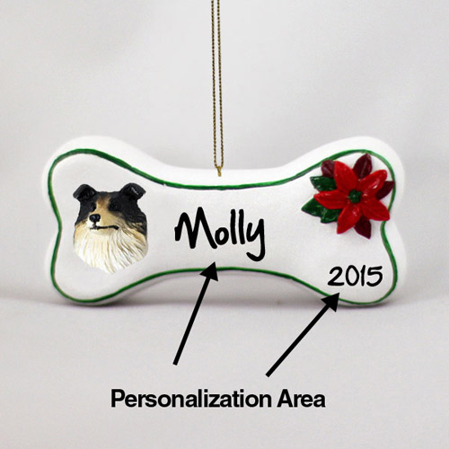 Collie Personalized Dog Bone Christmas Ornament