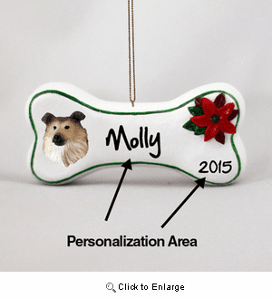 Collie Personalized Dog Bone Christmas Ornament Sable
