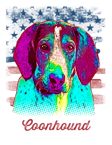 Coonhound T Shirt American Flag