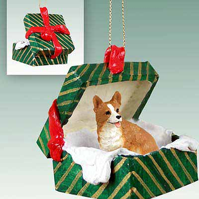 Corgi Gift Box Christmas Ornament Pembroke
