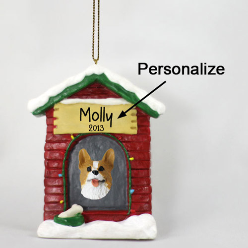 Corgi Personalized Dog House Christmas Ornament