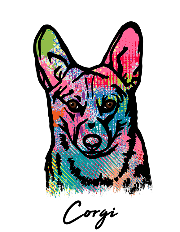 Corgi T Shirt Colorful Abstract
