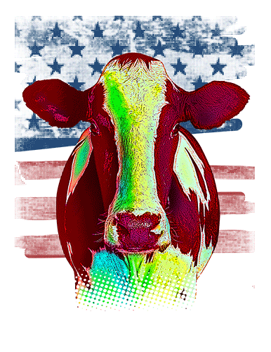 Cow T Shirt American Flag