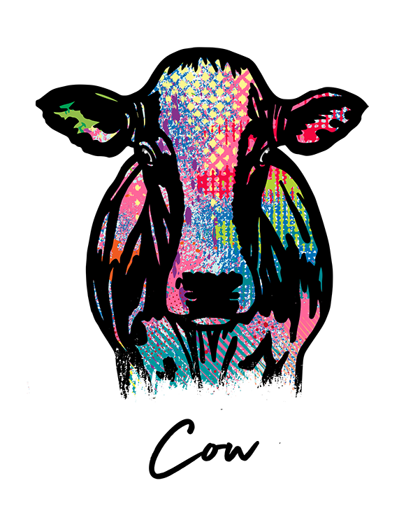 Cow T Shirt Colorful Abstract