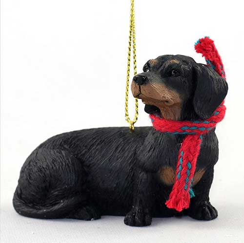 Dachshund Black-Tan with Scarf Christmas Ornament Large Version