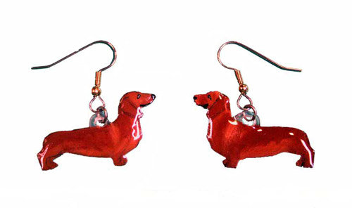 Dachshund Earrings Red Hand Painted Acrylic