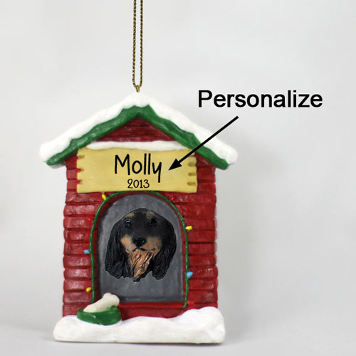 Dachshund Personalized Dog House Christmas Ornament Longhaired Black
