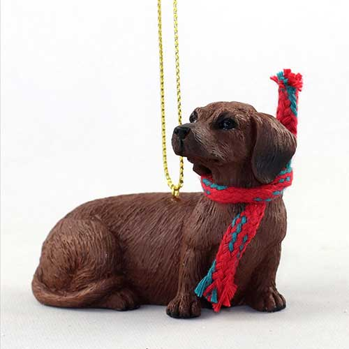 Dachshund Red with Scarf Christmas Ornament Large Version