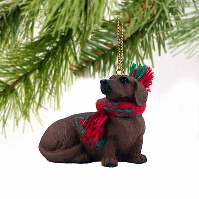 Dachshund Tiny One Christmas Ornament Red