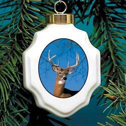 Deer Christmas Ornament Porcelain