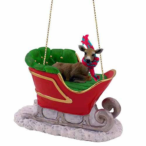 Deer Sleigh Ride Christmas Ornament Doe