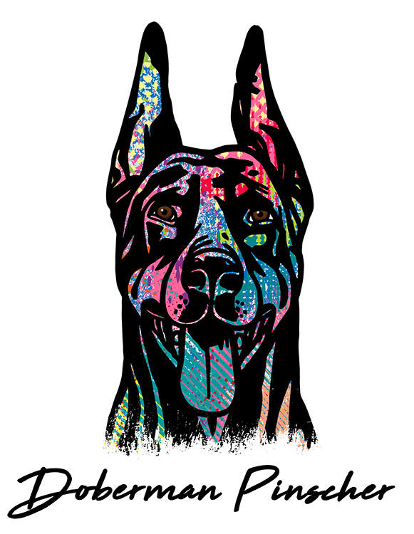Doberman Pinscher Cropped T Shirt Colorful Abstract