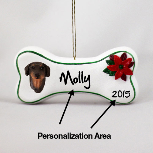 Doberman Pinscher Personalized Dog Bone Christmas Ornament Red Uncropped
