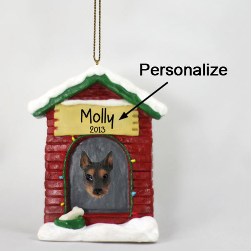 Doberman Pinscher Personalized Dog House Christmas Ornament Red