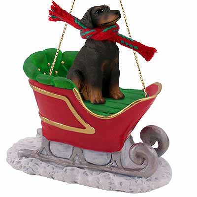 Doberman Pinscher Sleigh Ride Christmas Ornament Red Uncropped