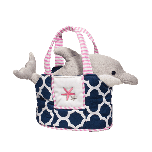 Dolphin Navy Purse 7� Stuffed Plush Animal