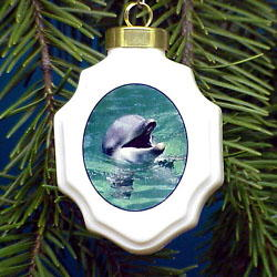 Dolphin Christmas Ornament Porcelain