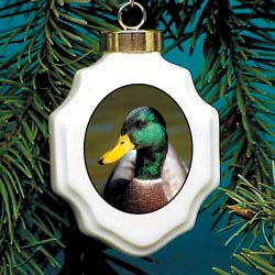 Mallard Duck Christmas Ornament Porcelain