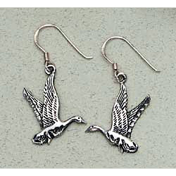 Duck Earrings Sterling Silver