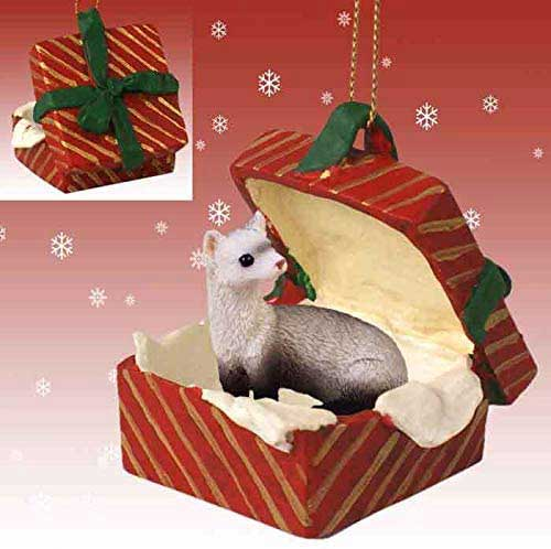 Ferret Gift Box Red Christmas Ornament