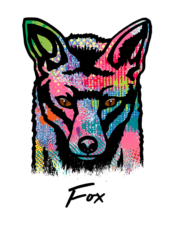 Fox T Shirt Colorful Abstract