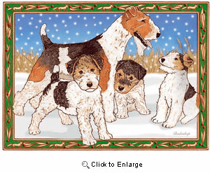 Fox Terrier Wire Christmas Cards