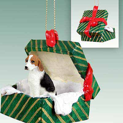 Foxhound Gift Box Christmas Ornament