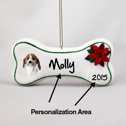 Foxhound Personalized Dog Bone Christmas Ornament