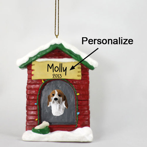 Foxhound Personalized Dog House Christmas Ornament