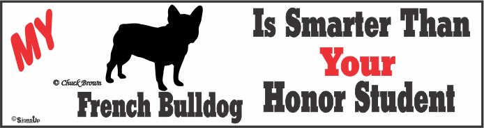 French Bulldog Bumper Sticker Honor Student