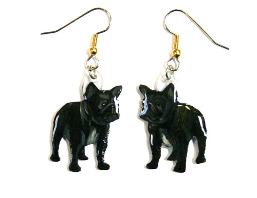 French Bulldog Earrings Brindle Hand Painted Acrylic