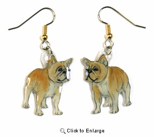 French Bulldog Earrings Fawn Hand Painted Acrylic