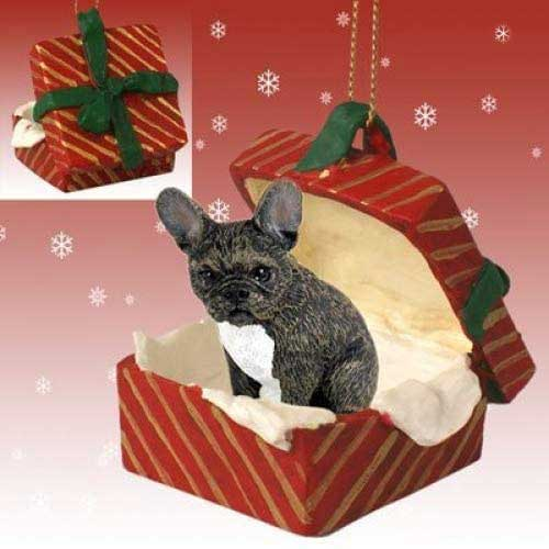 French Bulldog Gift Box Red Christmas Ornament