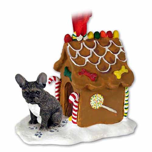 French Bulldog Gingerbread House Christmas Ornament